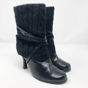 Classified I Faux Leather Black MidCalf Heel Boots